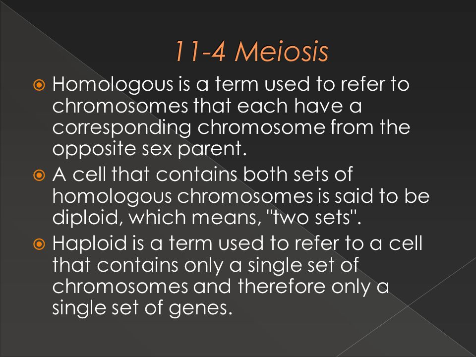 11-4 Meiosis Homologous is a term used to refer to chromosomes that each have a corresponding chromosome from the opposite sex parent.