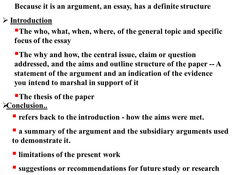 argument of definition essay outline