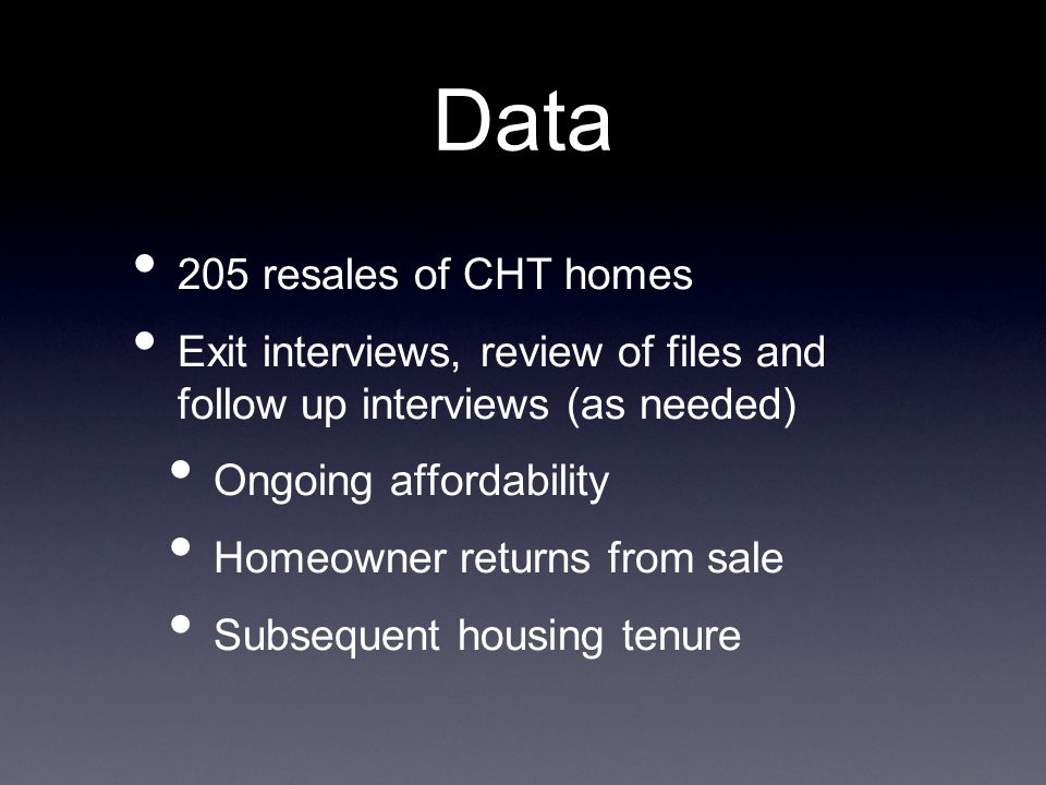Data 205 resales of CHT homes