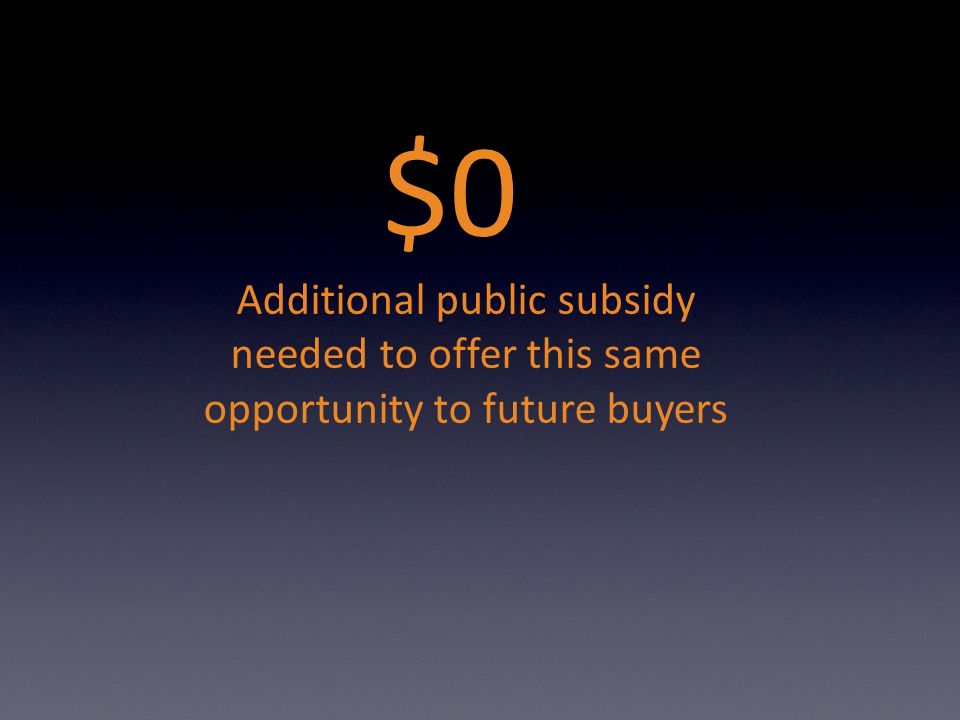 $0 Additional public subsidy needed to offer this same opportunity to future buyers