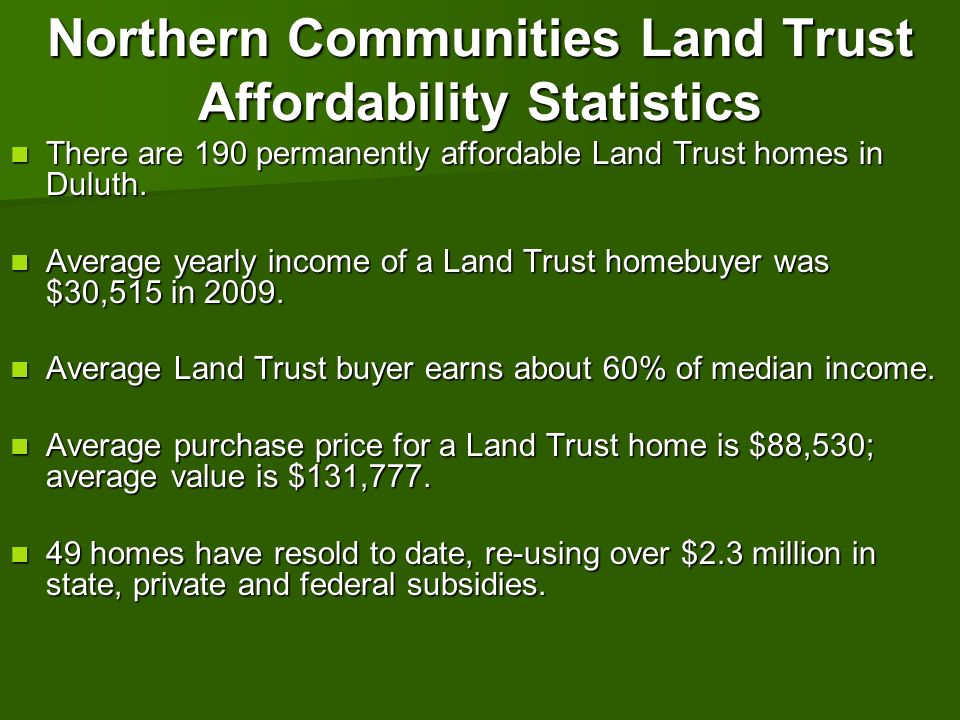 Northern Communities Land Trust Affordability Statistics