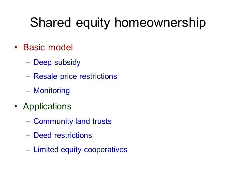 Shared equity homeownership