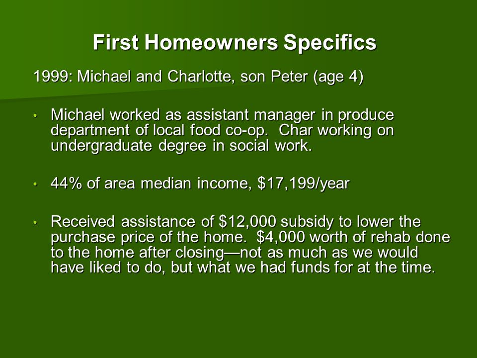 First Homeowners Specifics