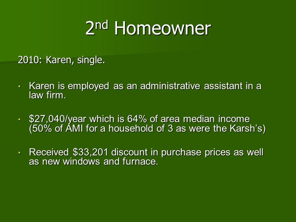 2nd Homeowner 2010: Karen, single.
