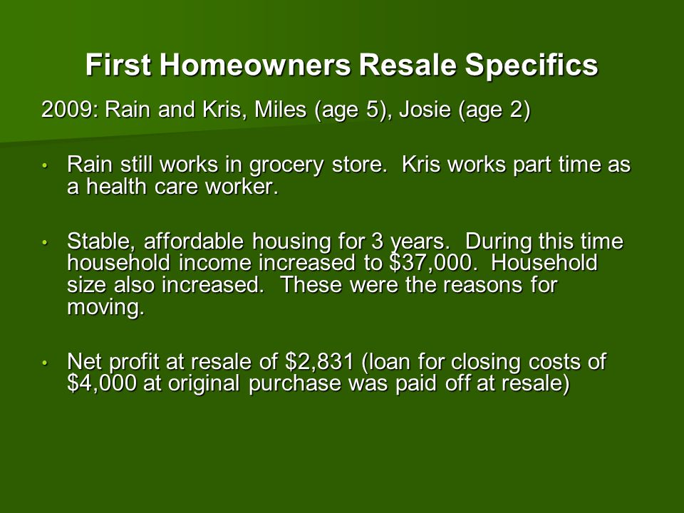 First Homeowners Resale Specifics