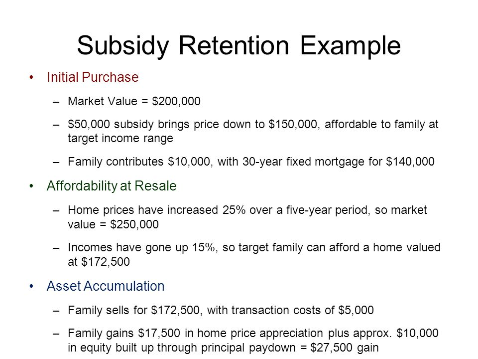 Subsidy Retention Example