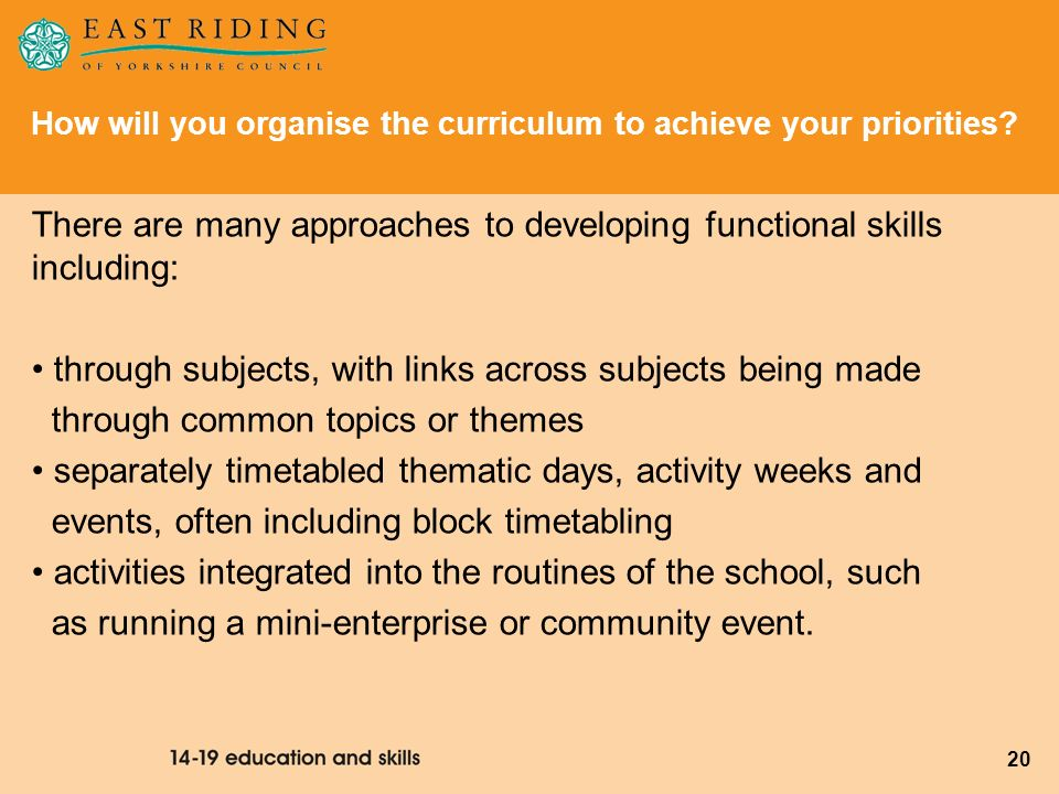 There are many approaches to developing functional skills including: