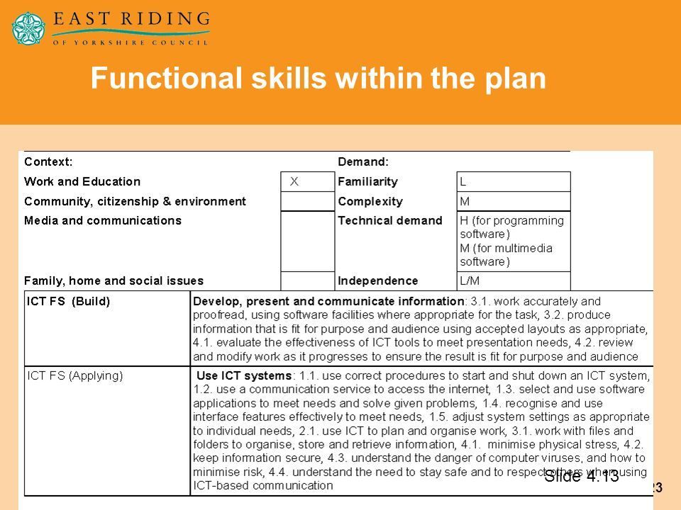 Functional skills within the plan