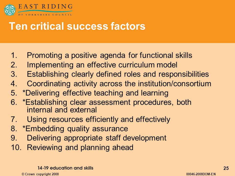 Ten critical success factors