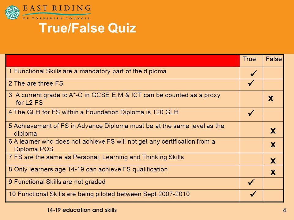 True/False Quiz   x  x x x x   True False