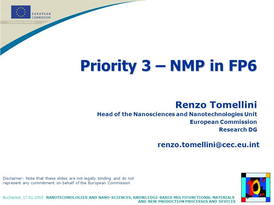 Priority 3 – NMP in FP6 Renzo Tomellini renzo.tomellini@cec.eu.int