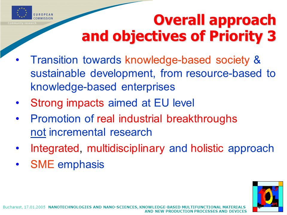 Overall approach and objectives of Priority 3