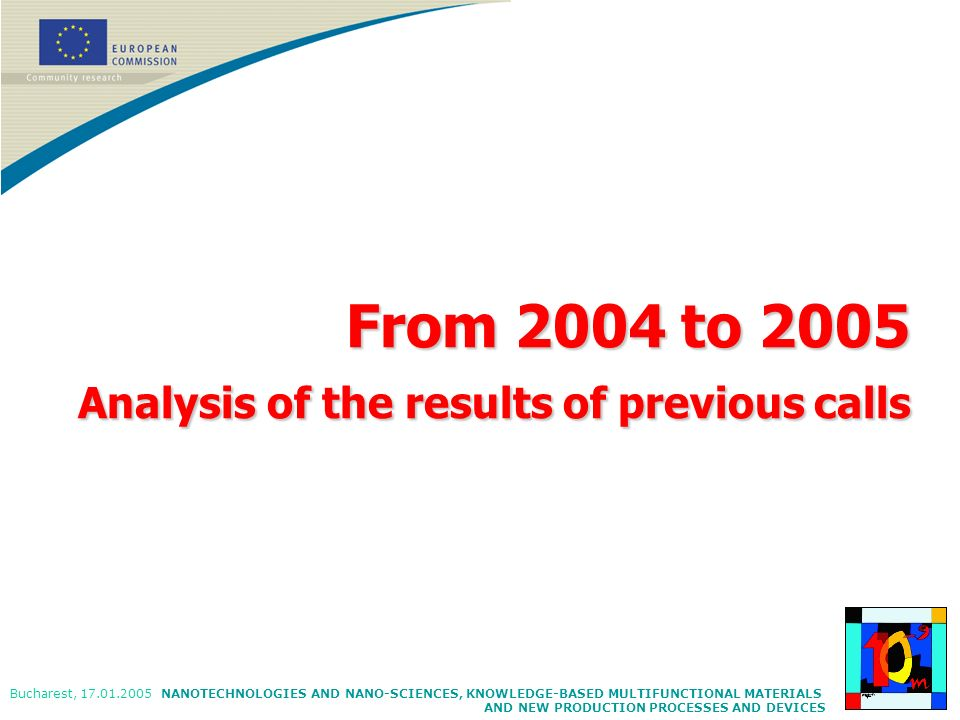 From 2004 to 2005 Analysis of the results of previous calls