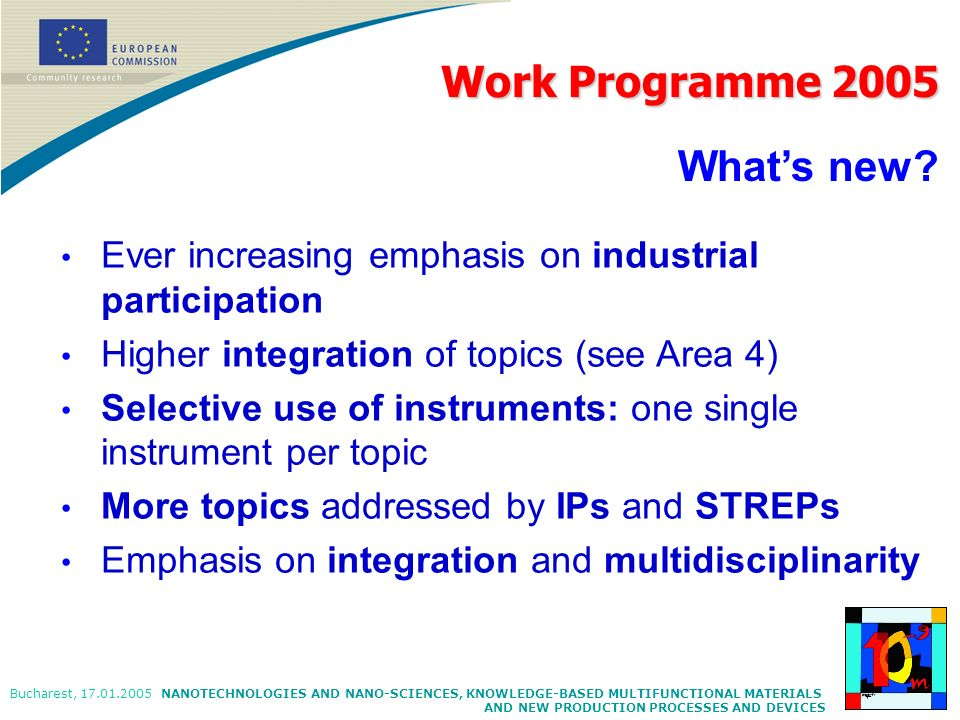 Work Programme 2005 What's new