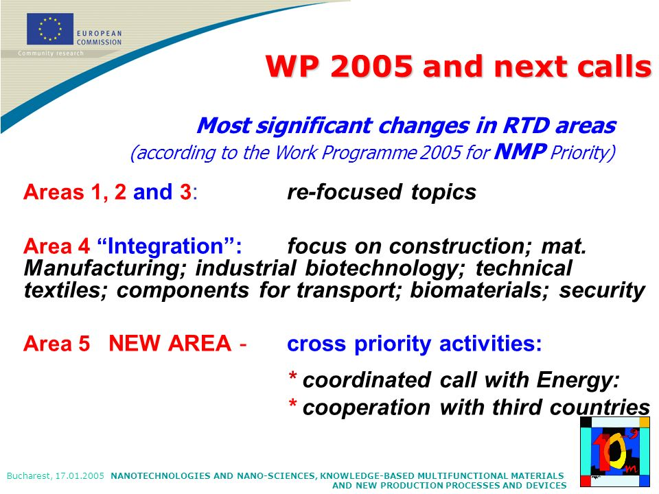 WP 2005 and next calls * coordinated call with Energy:
