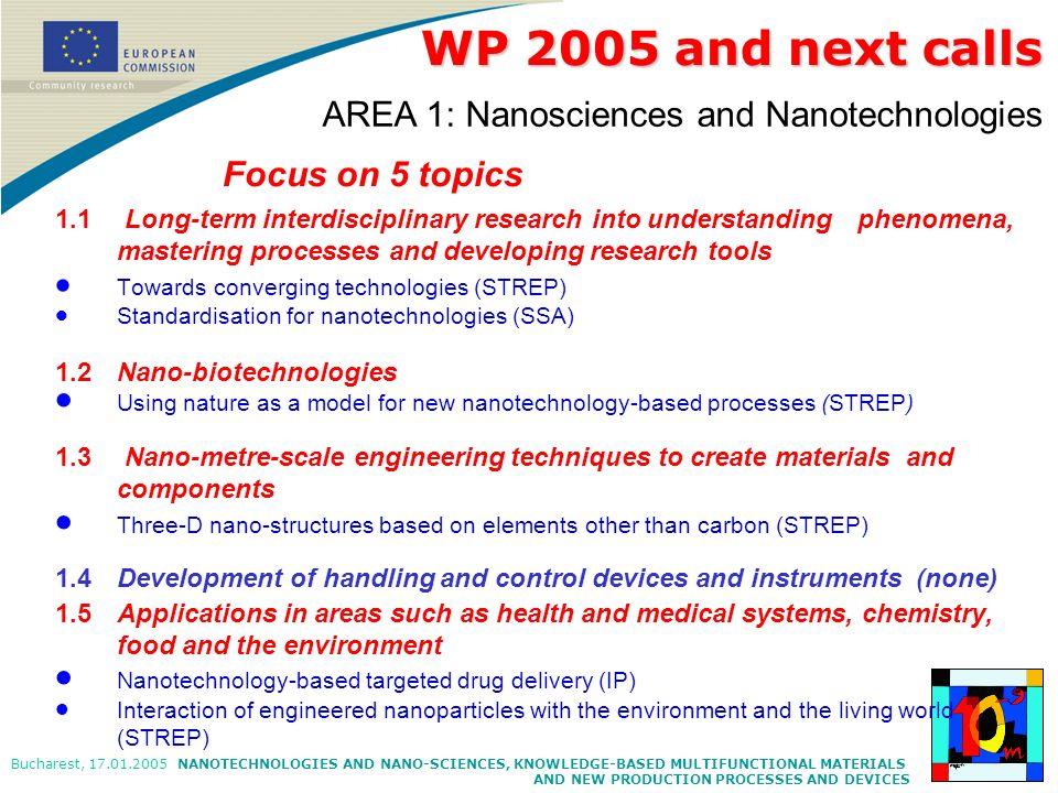 WP 2005 and next calls AREA 1: Nanosciences and Nanotechnologies