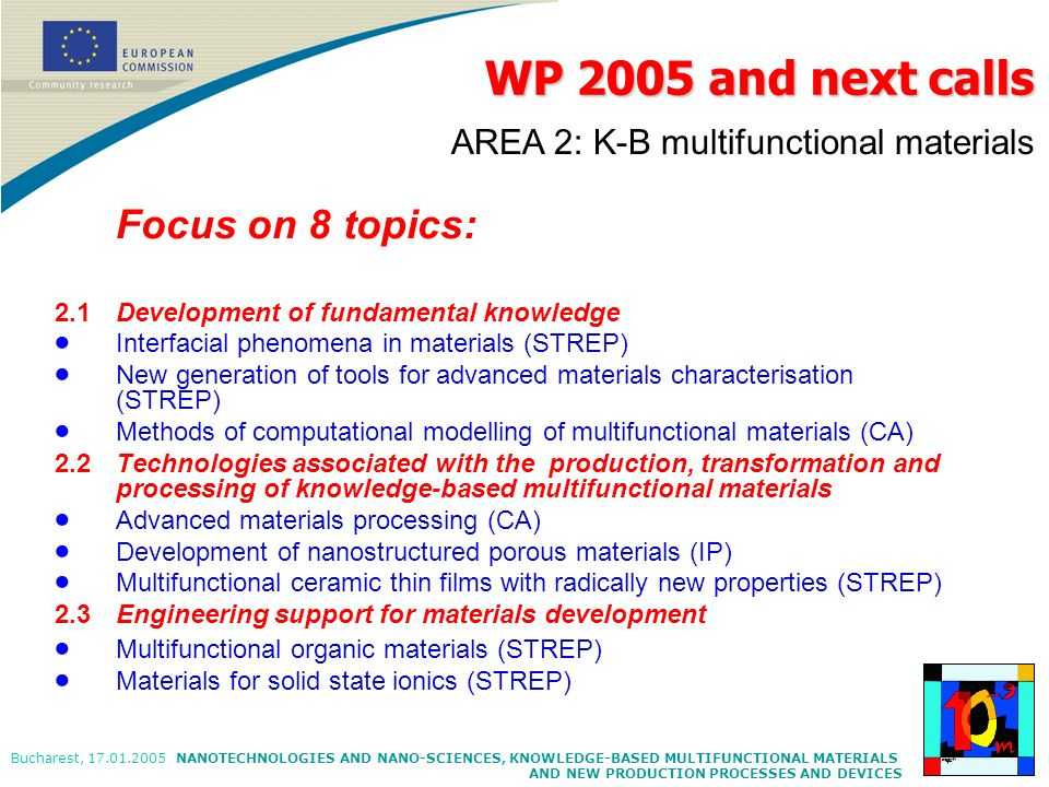WP 2005 and next calls AREA 2: K-B multifunctional materials