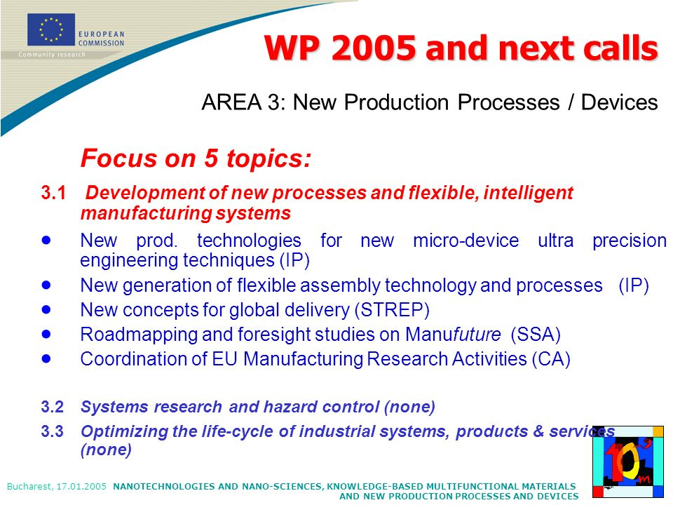 WP 2005 and next calls AREA 3: New Production Processes / Devices