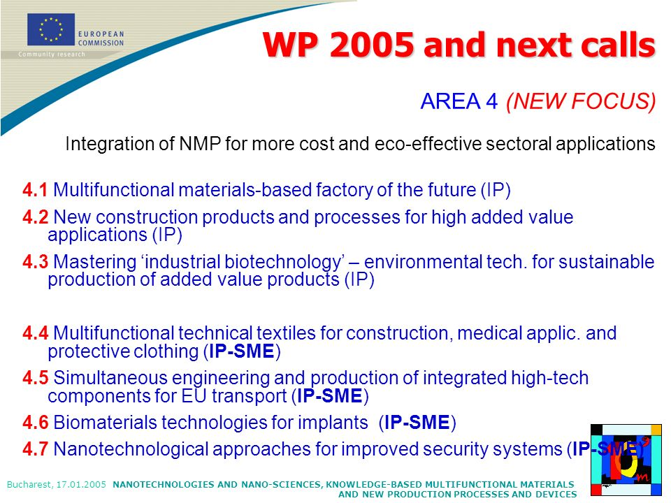 WP 2005 and next callsAREA 4 (NEW FOCUS) Integration of NMP for more cost and eco-effective sectoral applications.