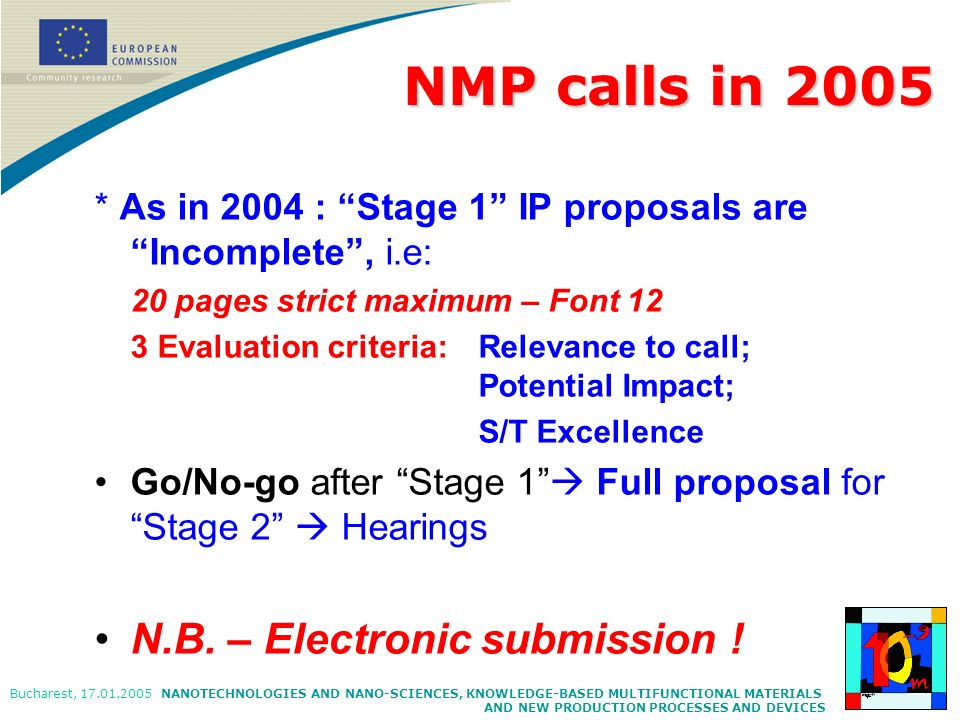NMP calls in 2005 N.B. – Electronic submission !