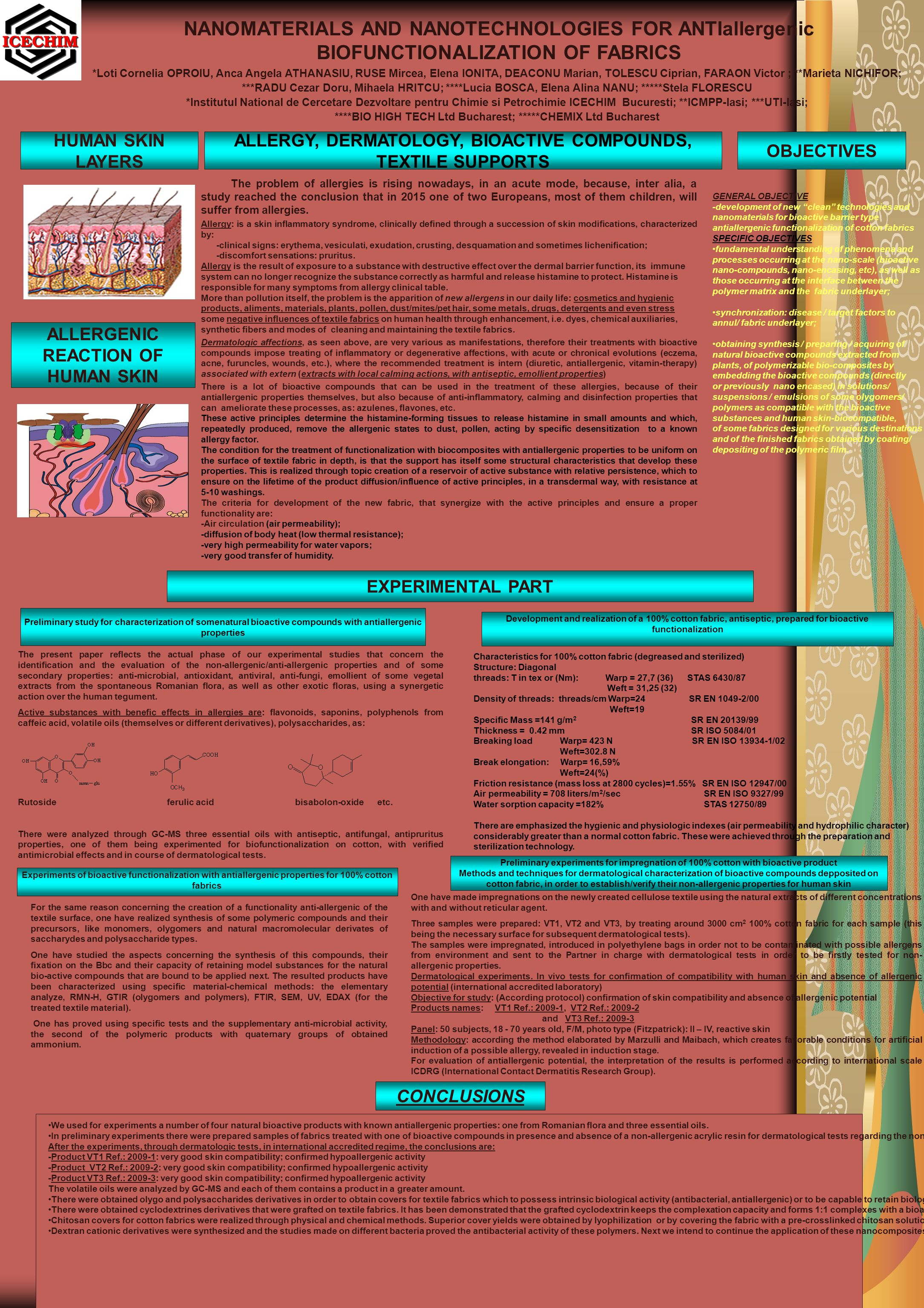 NANOMATERIALS AND NANOTECHNOLOGIES FOR ANTIallergenic BIOFUNCTIONALIZATION OF FABRICS