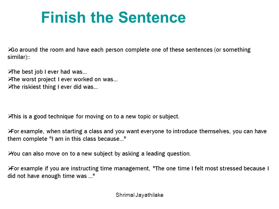 Ice breakers shrimal jayathilake ppt download for Sentence of floor