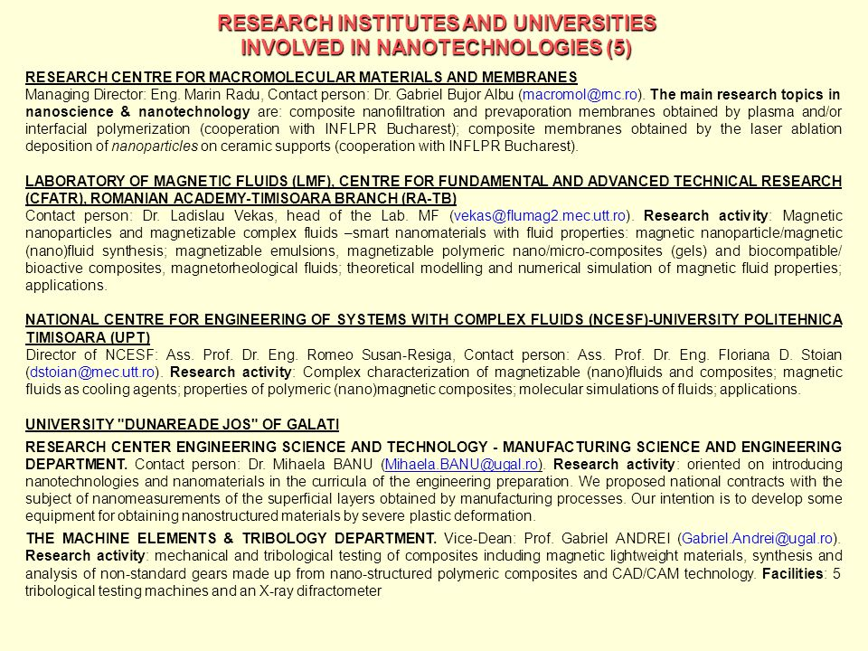 RESEARCH INSTITUTES AND UNIVERSITIES
