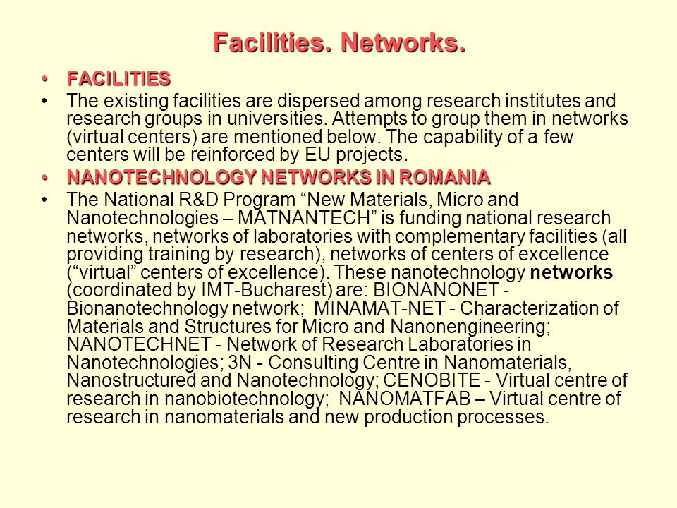 Facilities. Networks. FACILITIES