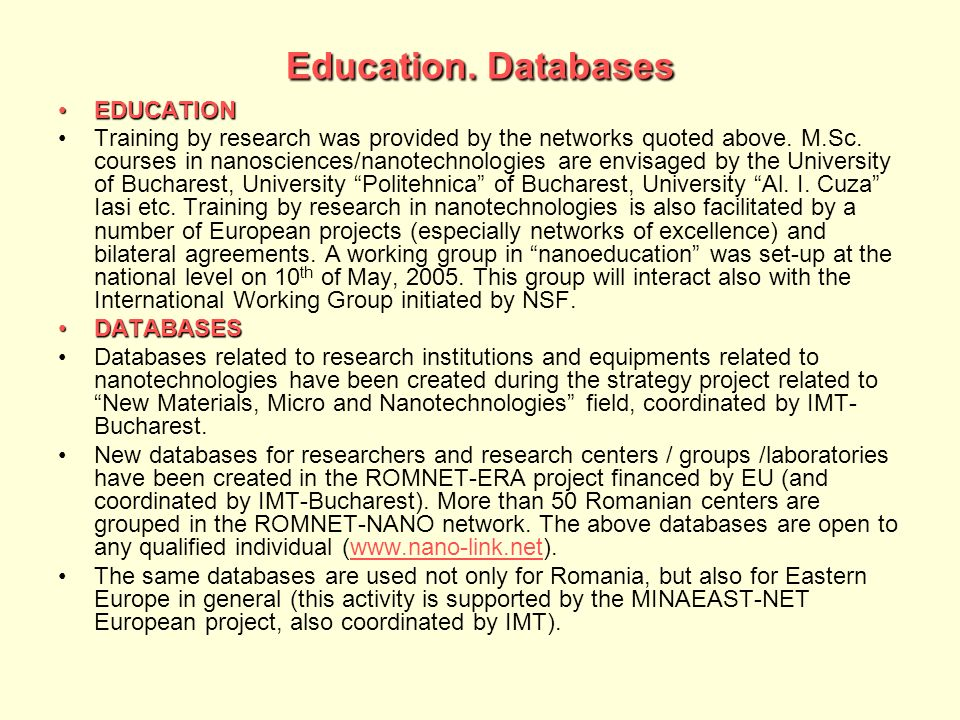 Education. Databases EDUCATION