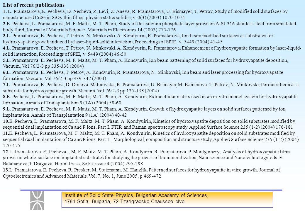 List of recent publications