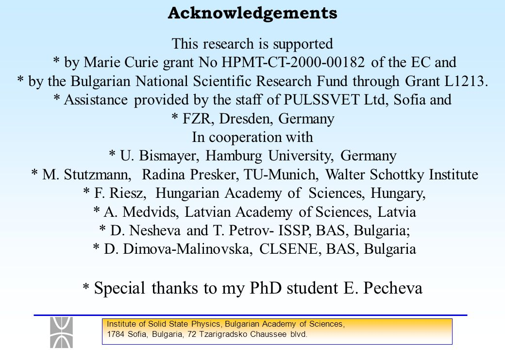 * Special thanks to my PhD student E. Pecheva