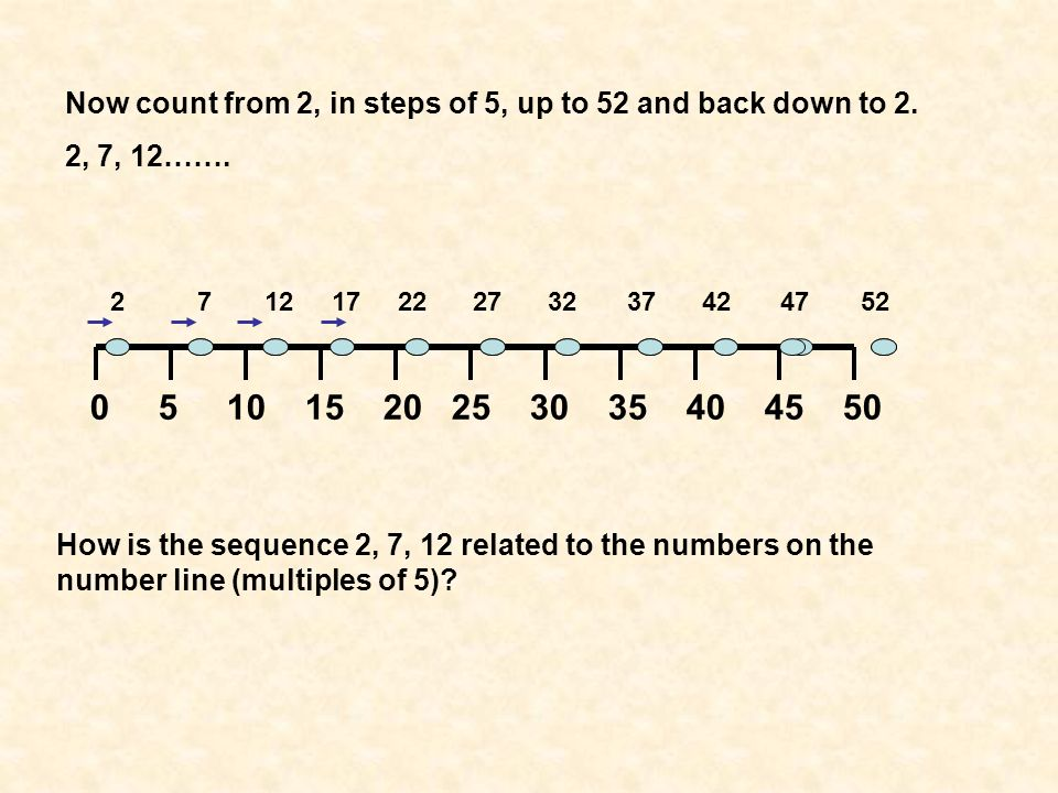 Now count from 2, in steps of 5, up to 52 and back down to 2.