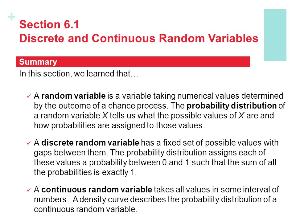 chapter 1 discrete and continuous probability Chapter 6: random variables and the normal distribution 61 discrete random variables 62 binomial probability distribution 63 continuous random variables and the normal probability distribution 64 standard normal distribution 65 applications of the normal distribution.