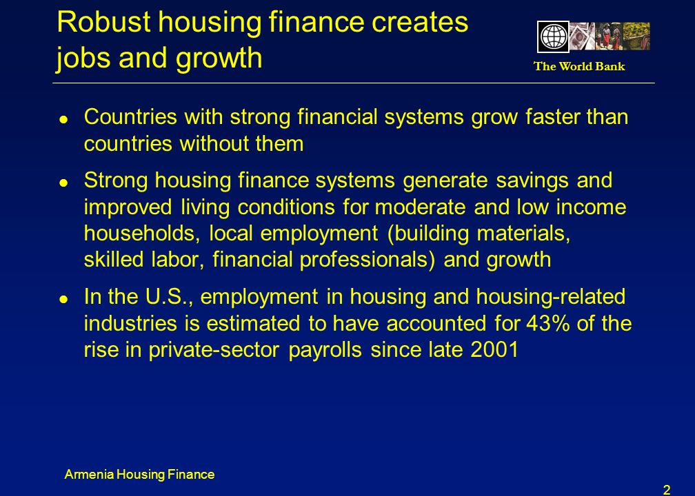 Robust housing finance creates jobs and growth