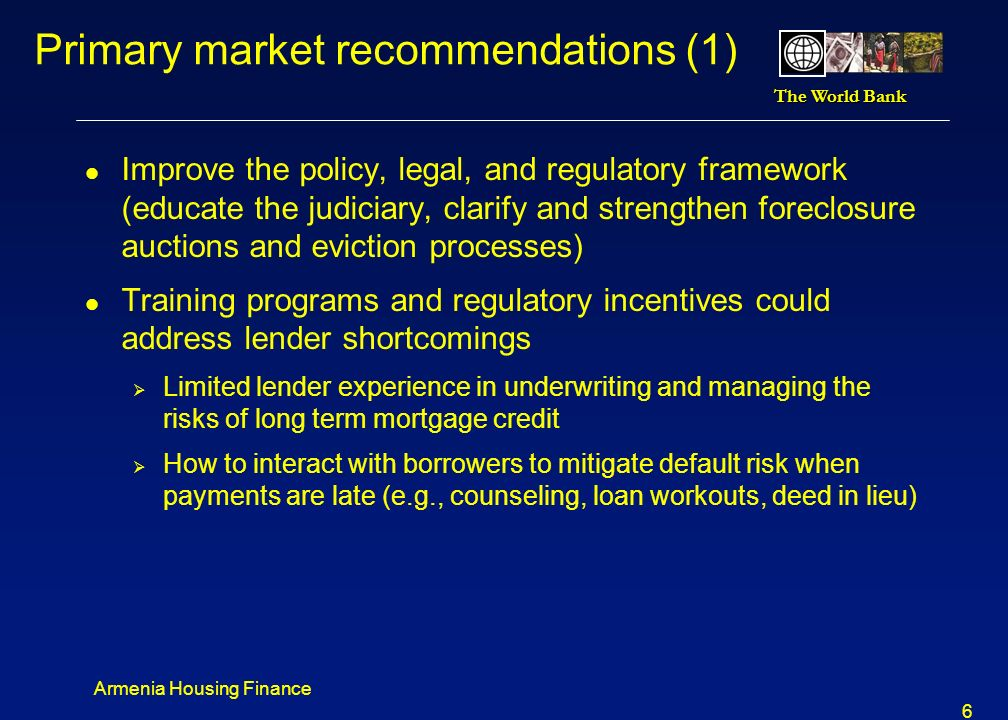 Primary market recommendations (1)