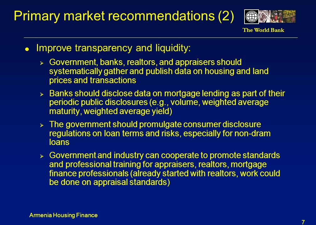 Primary market recommendations (2)