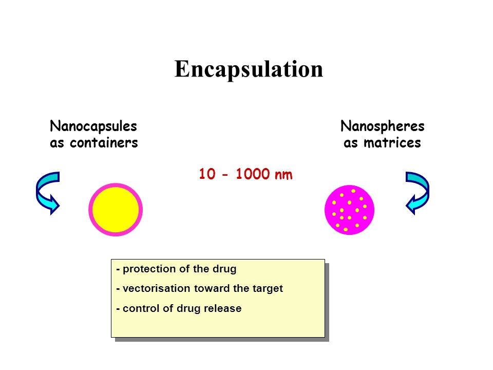 Encapsulation Nanocapsules as containers Nanospheres as matrices