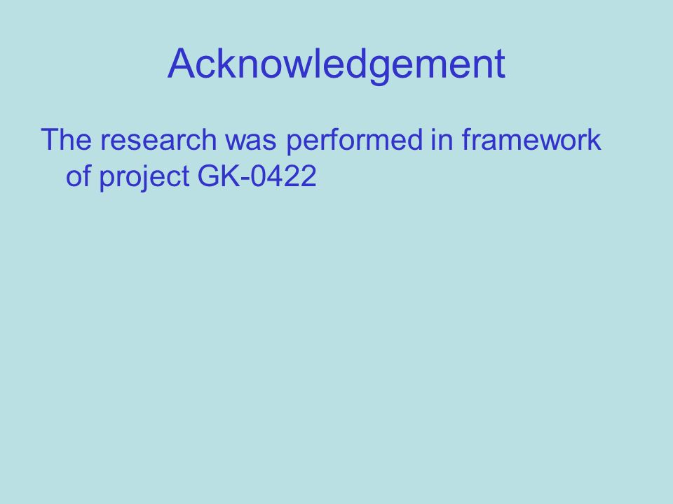 Acknowledgement The research was performed in framework of project GK-0422