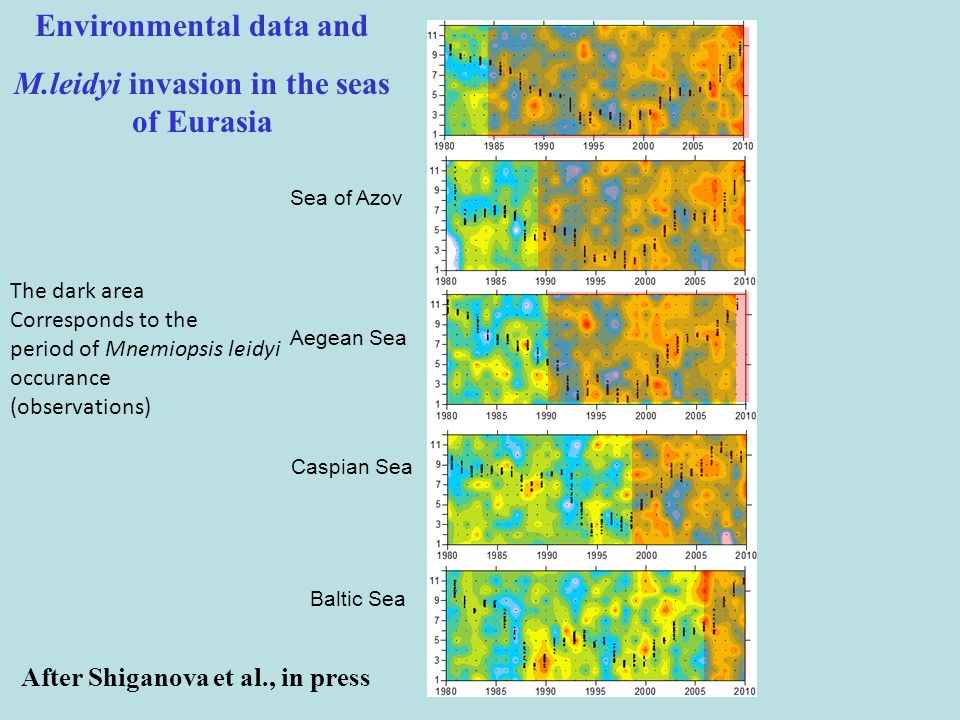 Environmental data and M.leidyi invasion in the seas of Eurasia