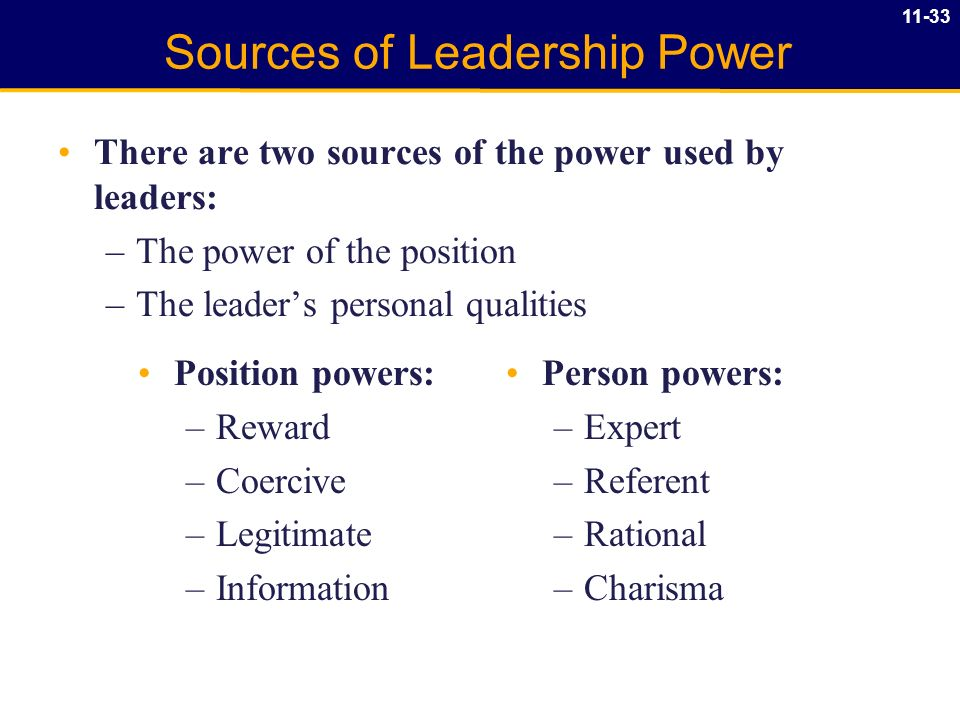 the five sources of power used by a leader Cross-cultural study on french and chinese managers' use of power  following five sources of power: 1  instead of legitimate power is used more frequently.