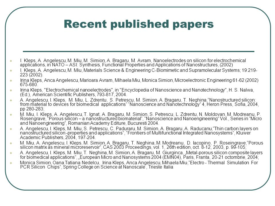 Recent published papers