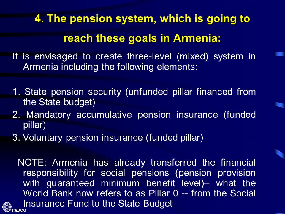 4. The pension system, which is going to reach these goals in Armenia: