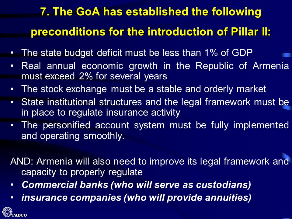 7. The GoA has established the following preconditions for the introduction of Pillar II: