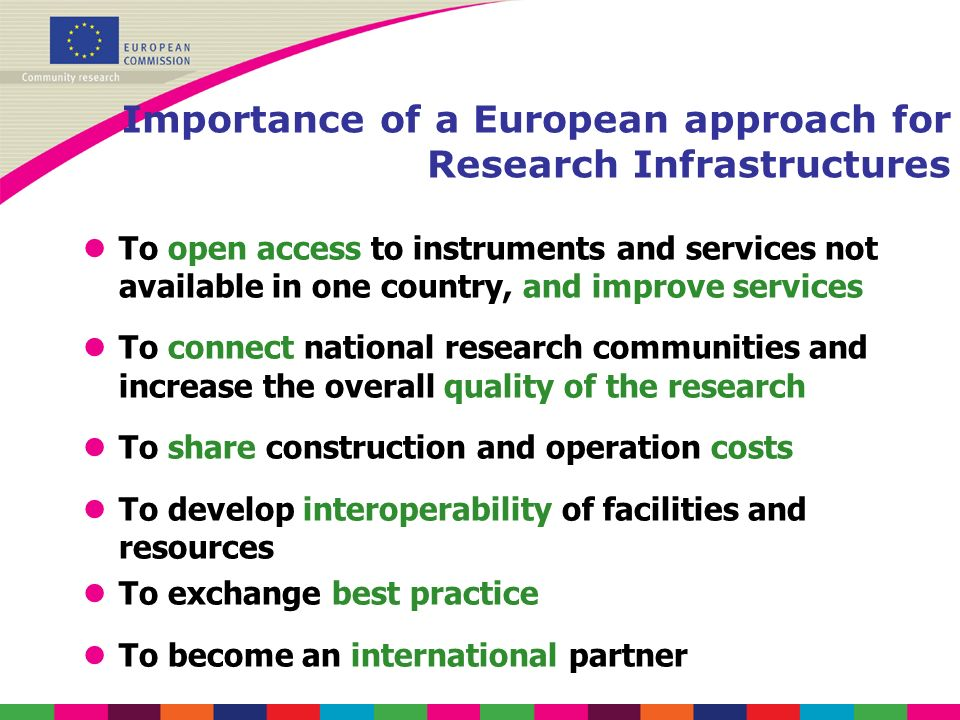 Importance of a European approach for Research Infrastructures