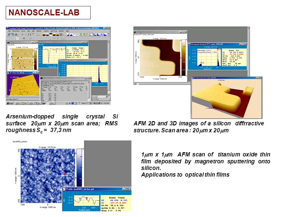 NANOSCALE-LAB Arsenium-dopped single crystal Si surface 20m x 20m scan area; RMS roughness Sq = 37,3 nm.