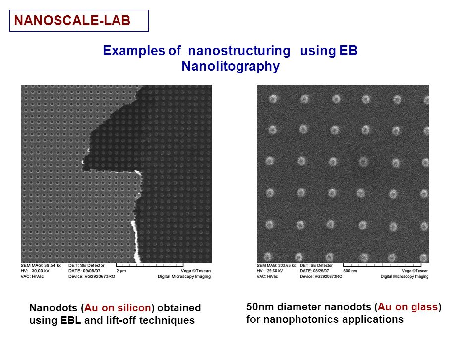 Examples of nanostructuring using EB Nanolitography