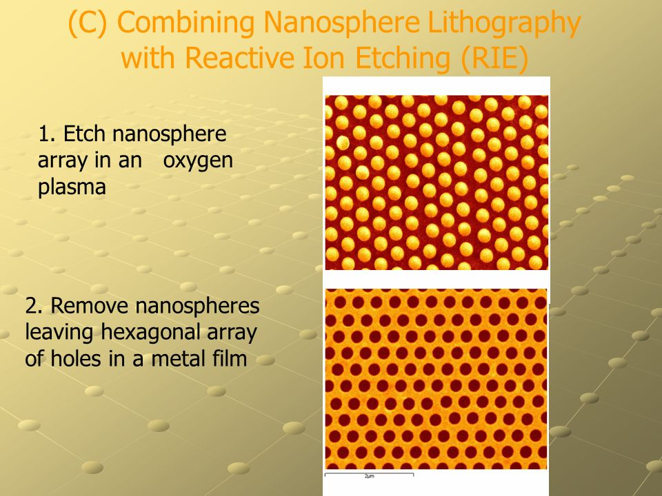 (C) Combining Nanosphere Lithography with Reactive Ion Etching (RIE)