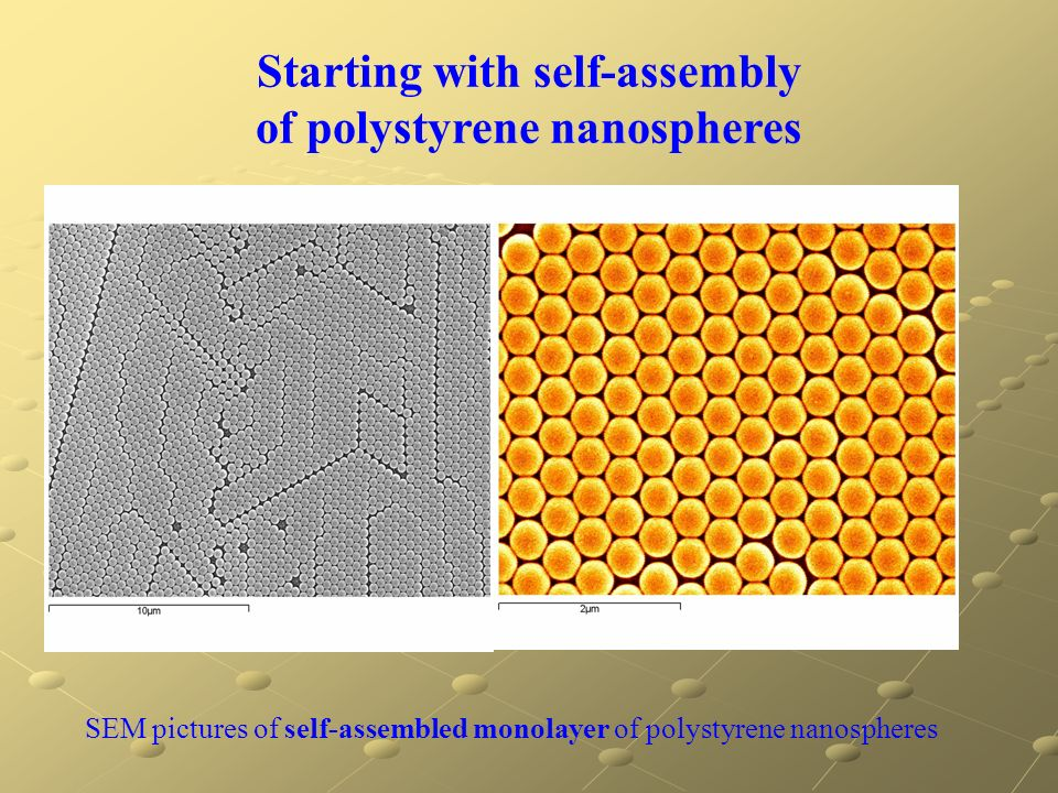 SEM pictures of self-assembled monolayer of polystyrene nanospheres