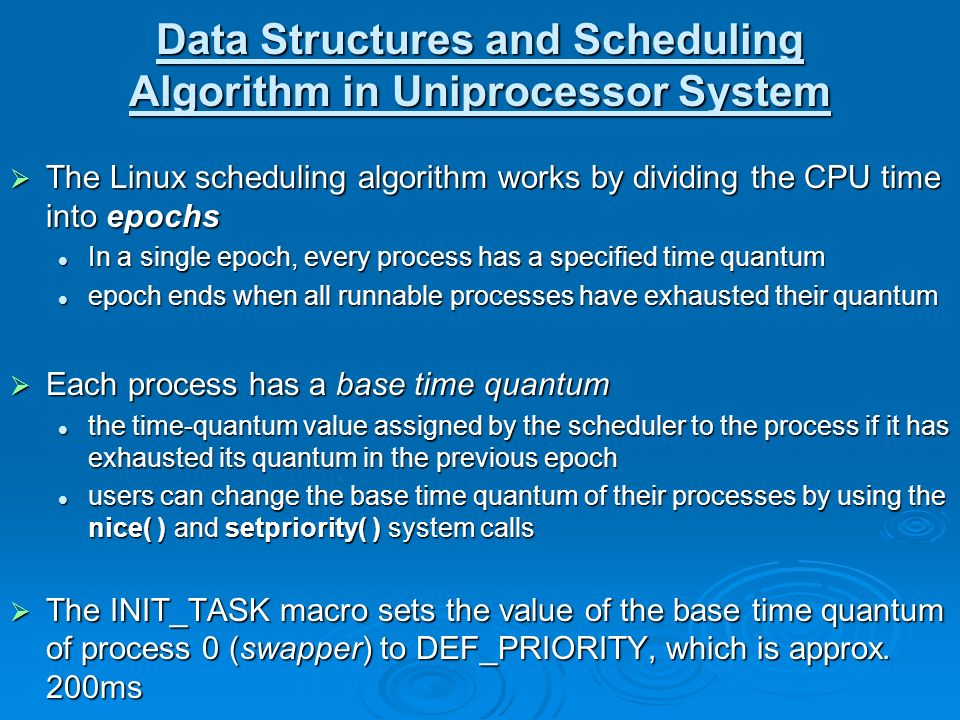 compare cpu scheduling of linux and Agenda cpu scheduler basics cpu scheduler algorithms overview linux cpu scheduler goals what is o(1) data structures of o(1) cpu scheduler quick run through the task execution process.