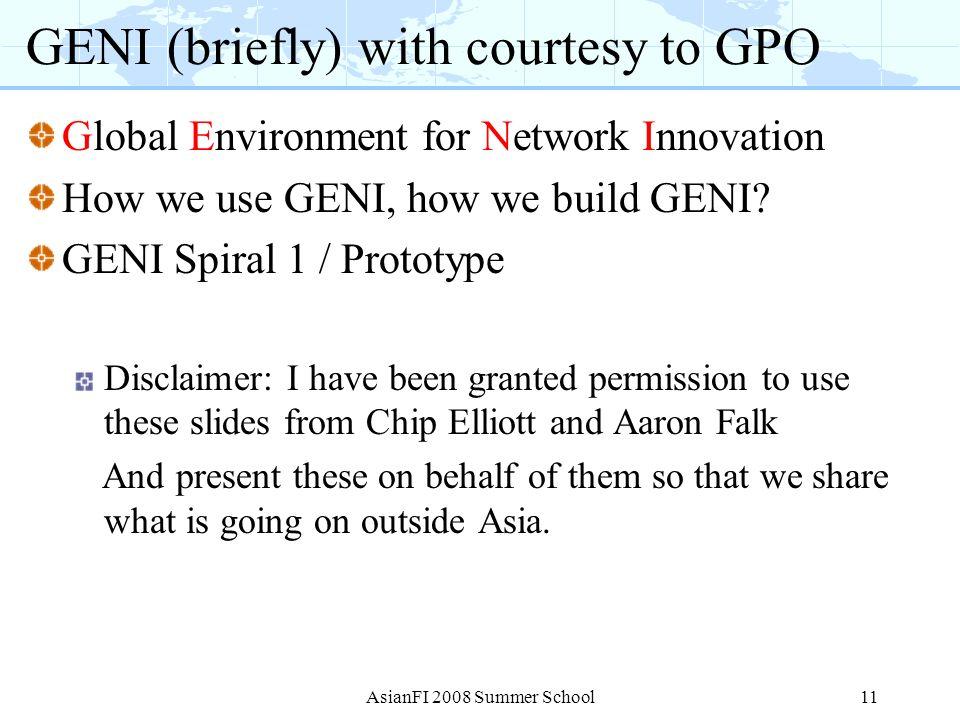 GENI (briefly) with courtesy to GPO